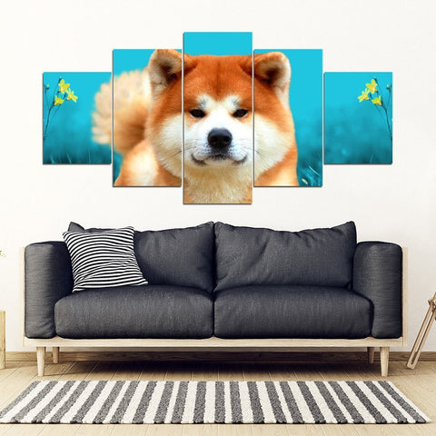Akita Dog Print 5 Piece Framed Canvas- Free Shipping-Paww-Printz-Merchandise