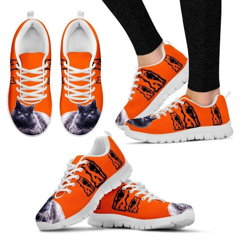 Nebelung Cat Print Sneakers For Women(White/Black)- Free Shipping-Paww-Printz-Merchandise