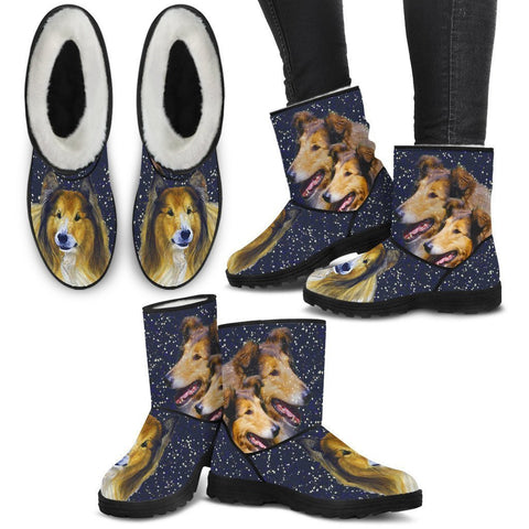 Amazing Collie Print Faux Fur Boots For Women-Free Shipping-Paww-Printz-Merchandise