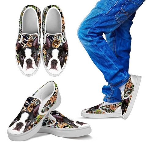 Amazing Boston Terrier Print Slip Ons For Kids-Express Shipping-Paww-Printz-Merchandise