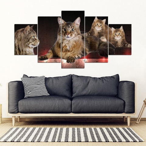 Maine Coon Cat Print-5 Piece Framed Canvas- Free Shipping-Paww-Printz-Merchandise