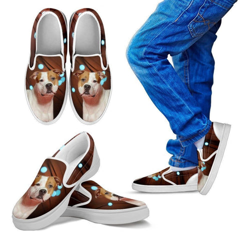 American Staffordshire Terrier Print Slip Ons For Kids-Express Shipping-Paww-Printz-Merchandise