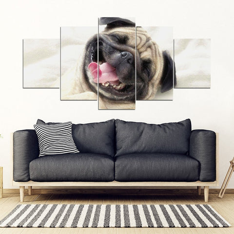 Laughing Pug Print Piece Framed Canvas- Free Shipping-Paww-Printz-Merchandise