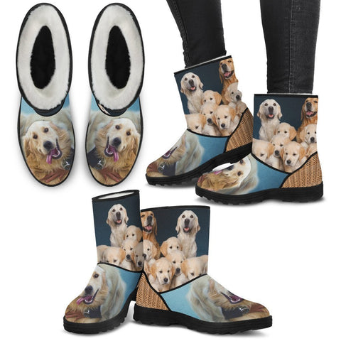 Golden Retriever Print Faux Fur Boots For Women-Free Shipping-Paww-Printz-Merchandise