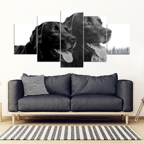 Black Labrador 5 Piece Framed Premium Canvas- Free Shipping-Paww-Printz-Merchandise