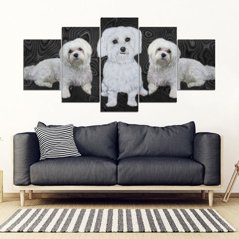 Maltese Dog Print-5 Piece Framed Canvas- Free Shipping-Paww-Printz-Merchandise