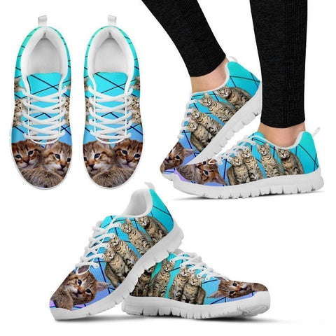 Pixie-Bob Cat Print(White/Black) Running Shoes For Women-Free Shipping-Paww-Printz-Merchandise