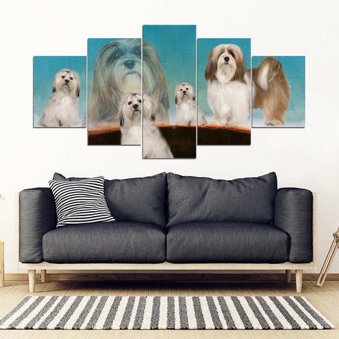 Lhasa Apso Dog Print-5 Piece Framed Canvas- Free Shipping-Paww-Printz-Merchandise