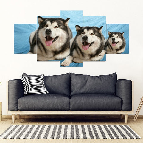 Laughing Alaskan Malamute Print- Piece Framed Canvas- Free Shipping-Paww-Printz-Merchandise