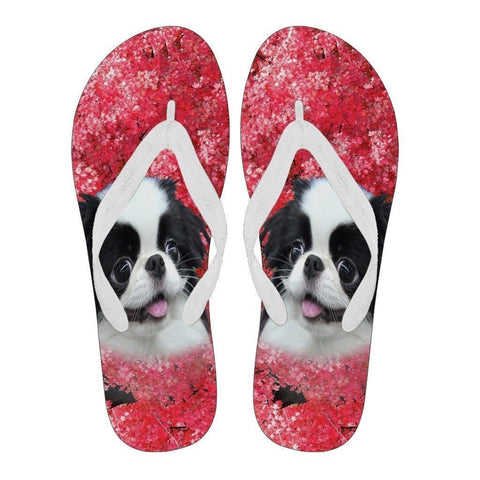 Japanese Chin Print Flip Flops For Women-Free Shipping-Paww-Printz-Merchandise