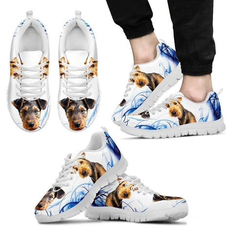 Airedale Terrier Print Sneakers For Men(White)- Free Shipping-Paww-Printz-Merchandise