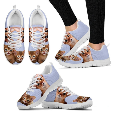 Abyssinian Cat Print (White/Black) Running Shoes For Women-Free Shipping-Paww-Printz-Merchandise