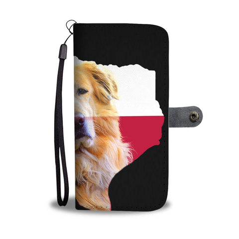 Golden Retriever Dog On Black Print Wallet Case-Free Shipping-Tx State