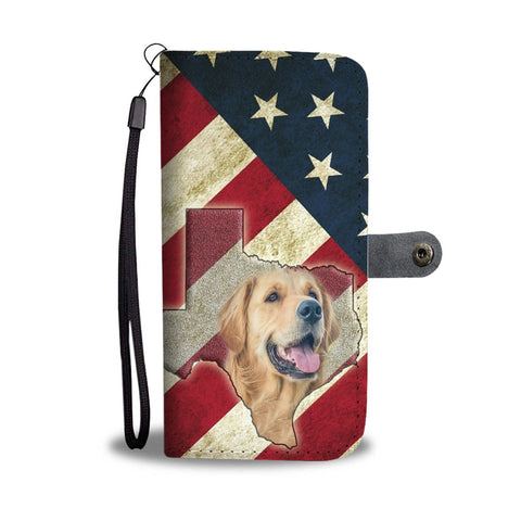 Laughing Golden Retriever Print Wallet Case-Free Shipping-TX State