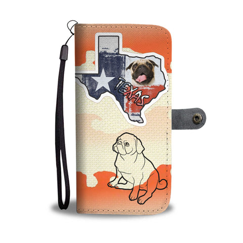Pug Dog Print Wallet Case-Free Shipping-TX State