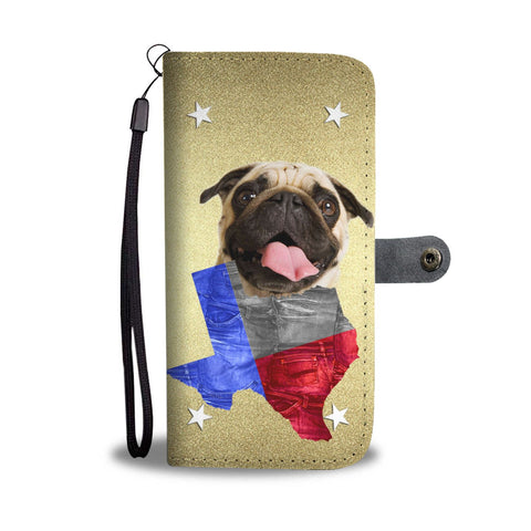 Pug Print Wallet Case- Free Shipping-TX State