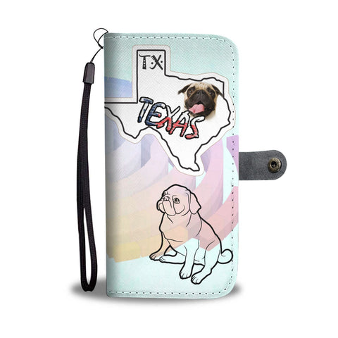 Cute Pug Print Wallet Case-Free Shipping-TX State