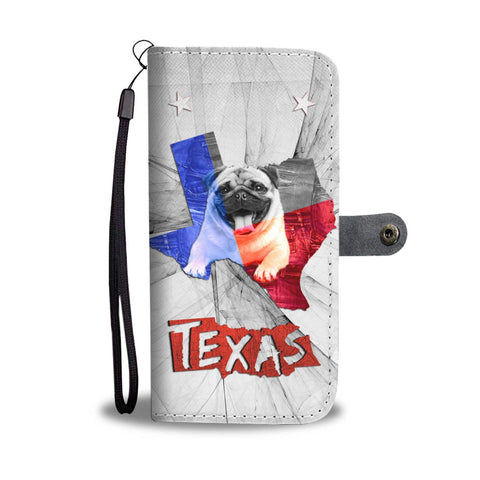 Pug Dog On White Print Wallet Case- Free Shipping-TX State