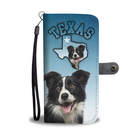 Border Collie Print Wallet Case-Free Shipping-TX State