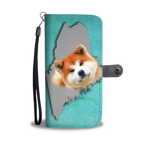 Akita Dog Print Wallet Case-Free Shipping-ME State
