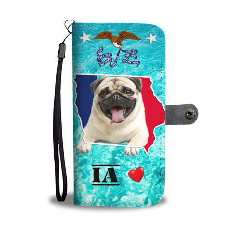 Cute Pug Dog Print Wallet Case- Free Shipping-IA State