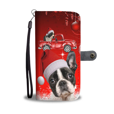 Cute Boston Terrier Red Christmas Print Wallet Case-Free Shipping