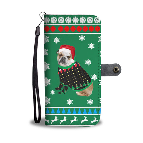 Bulldog Christmas Print Wallet Case-Free Shipping