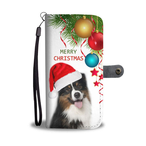 Cute Australian Shepherd Christmas Print Wallet Case-Free Shipping