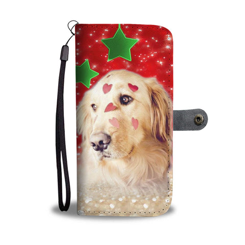 Golden Retriever On Christmas Print Wallet Case- Free Shipping