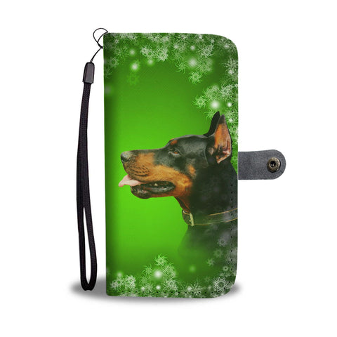 Doberman Pinscher Dog On Green Christmas Print Wallet Case-Free Shipping