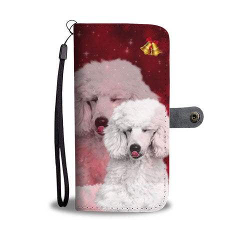 Poodle Dog On Red Christmas Print Wallet Case-Free Shipping