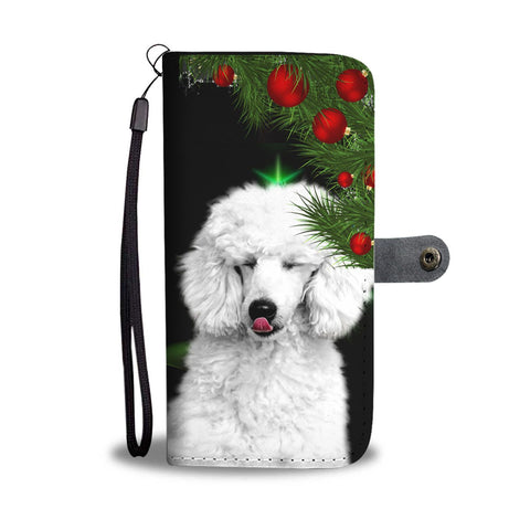 Lovely Poodle Dog Christmas Print Wallet Case-Free Shipping
