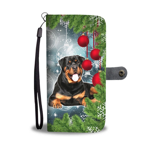 Rottweiler Dog Art Christmas Print Wallet Case-Free Shipping
