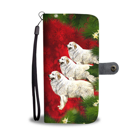 Great Pyrenees Dog Art Christmas Print Wallet Case-Free Shipping