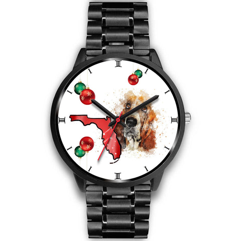 Basset Hound On Christmas Florida Wrist Watch-Free Shipping