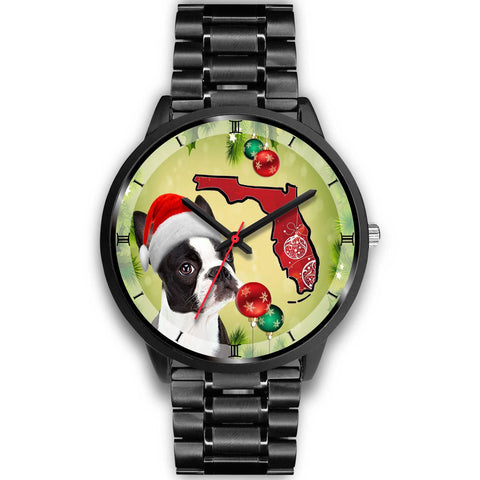 Boston Terrier On Christmas Florida Wrist Watch-Free Shipping