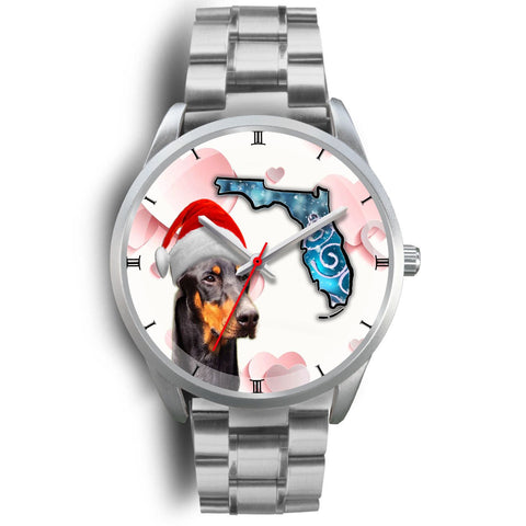 Doberman Pinscher On Christmas Florida Wrist Watch-Free Shipping