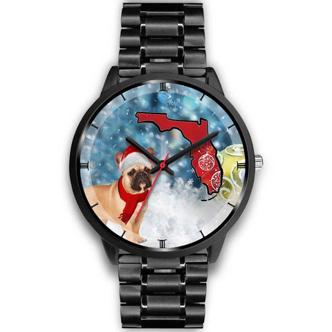 French Bulldog On Christmas Florida Wrist Watch-Free Shipping