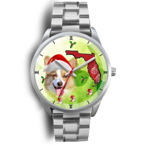 Pembroke Welsh Corgi On Christmas Florida Silver Wrist Watch-Free Shipping