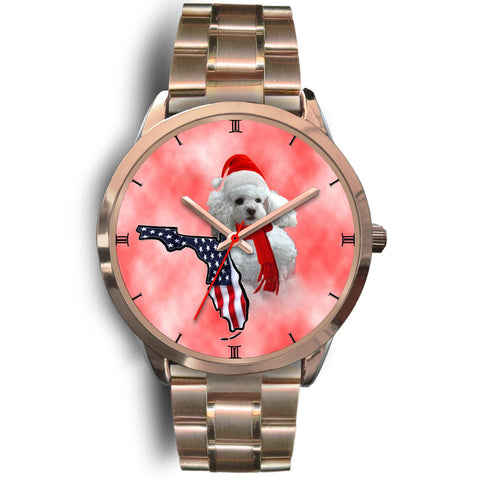Poodle On Christmas Florida Golden Wrist Watch-Free Shipping