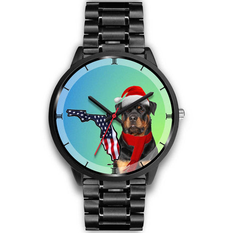 Rottweiler Dog On Christmas Florida Wrist Watch-Free Shipping