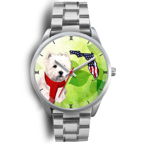 Westie On Christmas Florida Silver Wrist Watch-Free Shipping