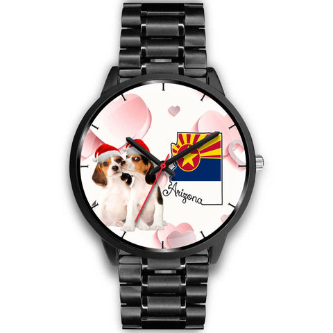 Beagle Dog On Christmas Arizona Wrist Watch-Free Shipping