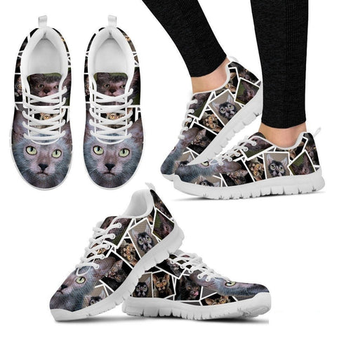 Lykoi Cat Print (White/Black) Running Shoes For Women-Free Shipping-Paww-Printz-Merchandise