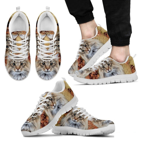 Norwegian Forest Cat Print (White/Black) Running Shoes For Men-Free Shipping-Paww-Printz-Merchandise