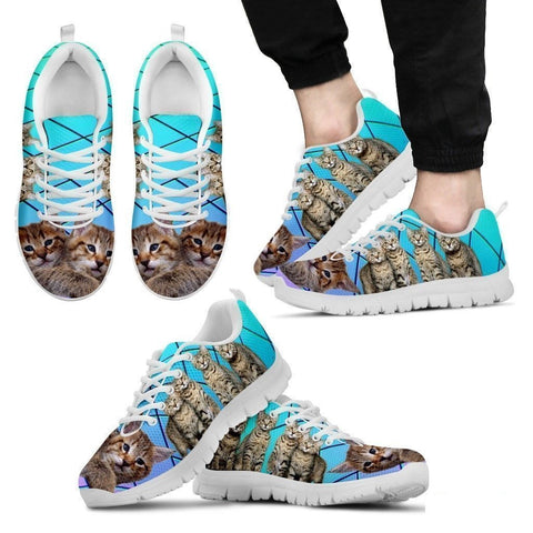Pixie-Bob Cat Print(White/Black) Running Shoes For Men-Free Shipping-Paww-Printz-Merchandise
