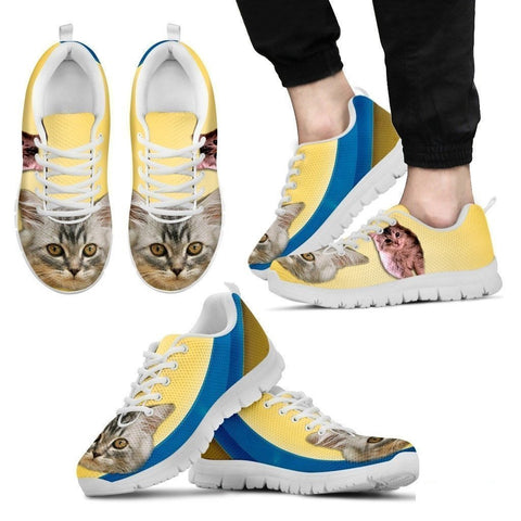 Cute Siberian Cat Print Sneakers For Men (White/Black)- Free Shipping-Paww-Printz-Merchandise