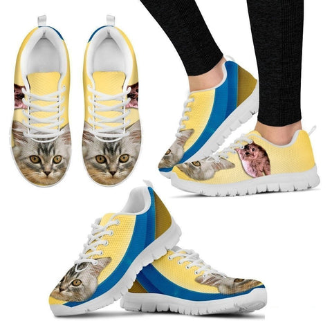 Cute Siberian Cat Print Sneakers For Women (White)- Free Shipping-Paww-Printz-Merchandise