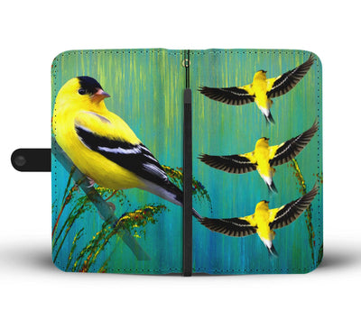 Amazing American GoldFinch Bird Print Wallet Case-Free Shipping