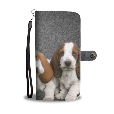 Cute Basset Hound Puppies Print Wallet Case-Free Shipping